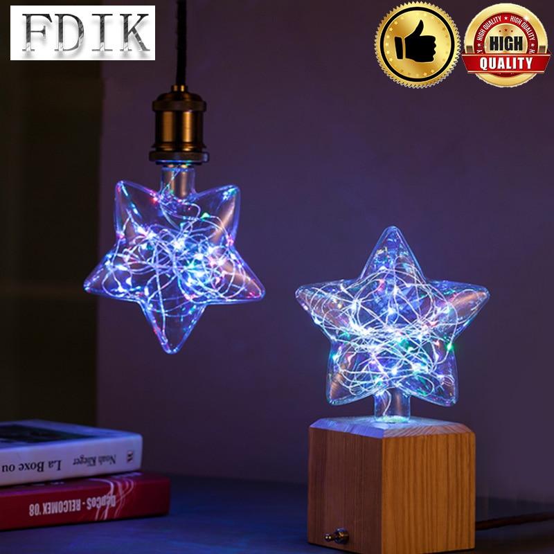 цена на Led lamp Star E27 3D Star Light Bulb Bar Party Decor Lighting for home/living room/bedroom/holiday decor lampada Christmas Lamp