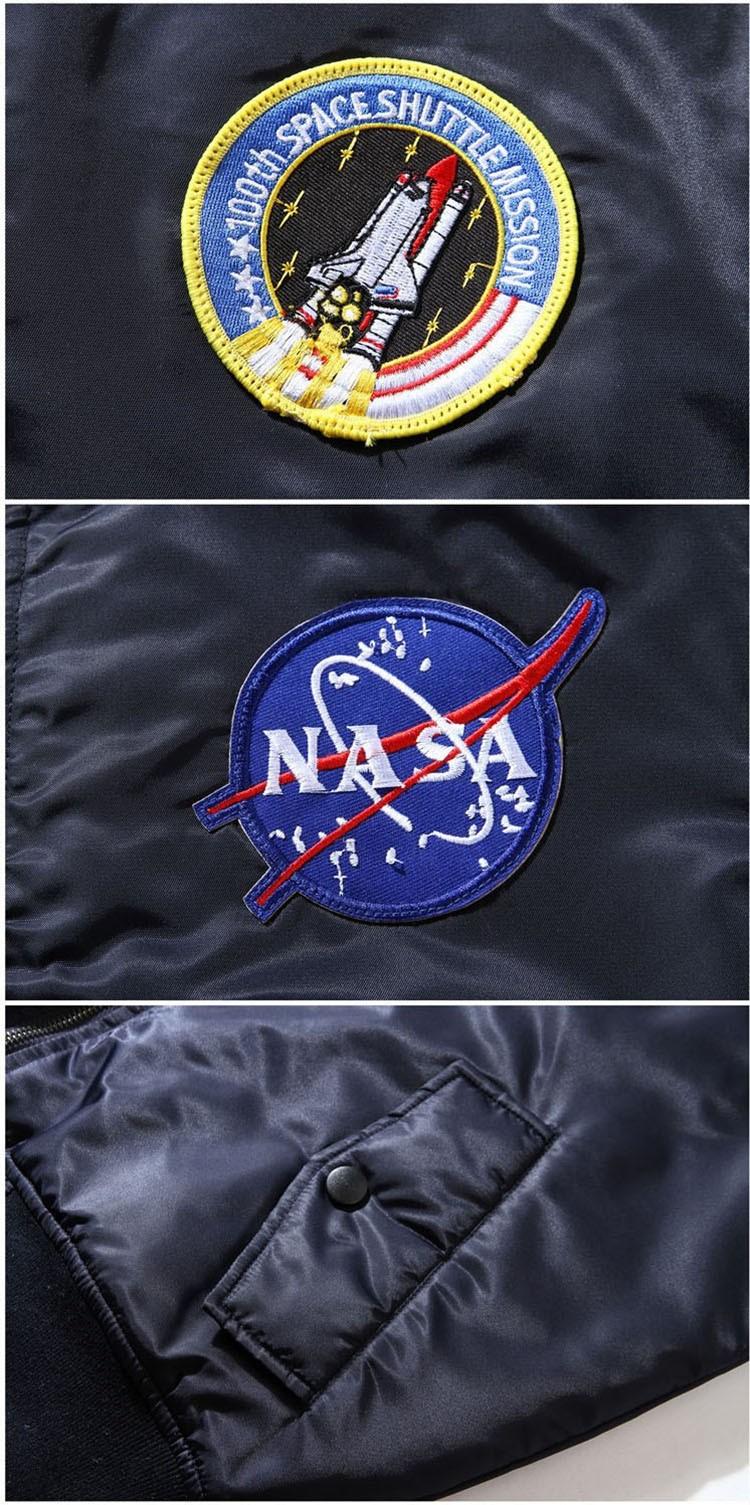 Men Bomber Jackets Flight Pilot Jacket Coat Nasa Air Force Embroidery Baseball Uniform Military Style Coats Army Green Black (3)