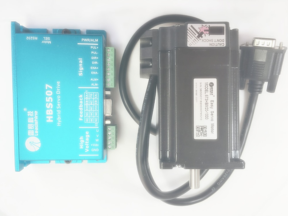 New Leadshine Closed Loop Stepper Drive HBS507 3-phase servo motor 573HBM20-EC-1000 with 1000 line encoder HBS57 nema23 3phase closed loop motor hybrid servo drive hbs507 leadshine 18 50vdc new original