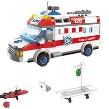 328+pcs Building Bricks Ambulance Model Figures Blocks 328+pcs DIY Bricks City Building Blocks Toys For Children Kids Gift