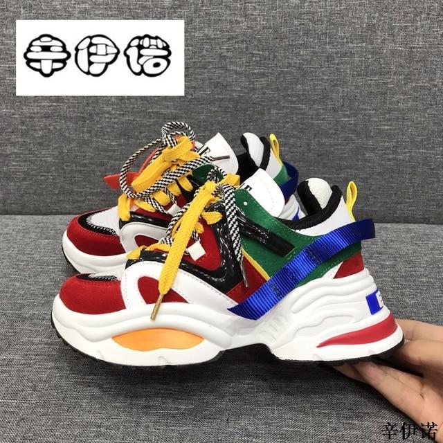 Новая обувь, женские кроссовки на платформе, обувь из натуральной кожи на платформе, женская повседневная обувь для папы, белые кроссовки, tenis feminino