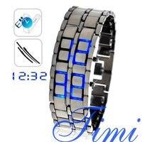 ขายส่งซามูไร-ญี่ปุ่นแรงบันดาลใจไฟLEDสีฟ้านาฬิก