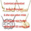 Nombre personalizado Collar de Plata Esterlina Personalizado Árabe Script Gold & Silver Color de Cualquier Fuente Iniciales Del Monograma Collares