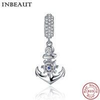 INBEAUT Reale 925 Sterling Silver CZ Libera di Ancoraggio A Forma di Pendente Donne Catena Beads Charm fit Pandora Braccialetto Dei Monili del Regalo