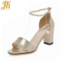 2017 New Design Elegant Bead Ankle Strap Women Sandals Thick High Heels Summer Shoes Woman Dress Party Wedding Shoes Size 34-43