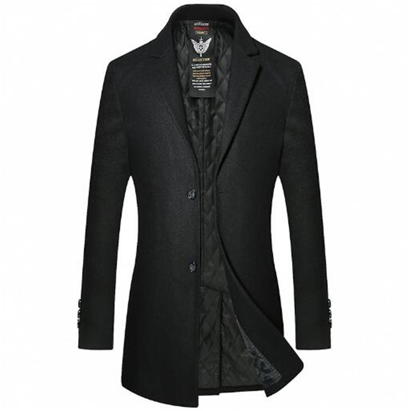 49.8% Merino wool brand mens wear autumn and winter new style mens long high-end casual jacket heavy coat