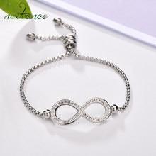 Nextvance – Bracelet à chaîne ajustable pour femmes, breloque, symbole de l'infini, pierre CZ, lettre géométrique