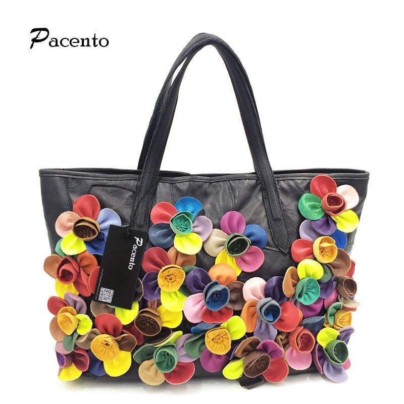 100% Denuine Leather Designer Luxury Brand Handbags Floral Women Crossbody Bags Shoulder Bag Soft Sac A Main Femme Canta
