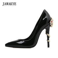 Black patent leather fashion design womens high heel pumps Snake around Metal Heels Runway Party wedding stiletto Shoes Woman