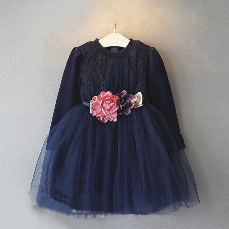 ea9baedc5254 Baby girls autumn chiffon dress navy blue with flower sash dress ...