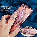 Para iphone 7 6 s 6 plus 5S 5 se chapeamento bling cristal diamante estande anel macio claro caso capa para o samsung s7 s6 edge note 7