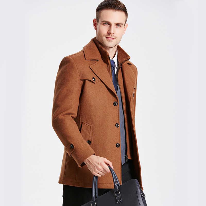 cd0b1a394f ... 2018 Trench Coat Men Winter Thick Windbreaker Long Woolen Overcoat  Masculino Palto Casaco Jaket Mens 4XL ...