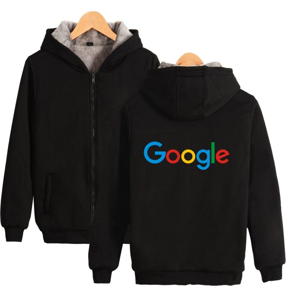 Google Hoodies Avec Fermeture Éclair Occasionnel Hiver Épais Chaud Google Vêtements Google Print Coton Google Logo Épais À Capuche Zip-Up