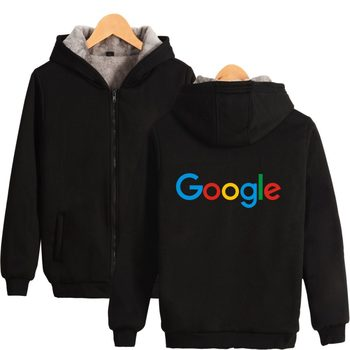 Google Hoodies With Zipper Casual Winter Thick Warm Google Clothing Google Print Cotton Google Logo Thick Hoodie Zip-Up фото