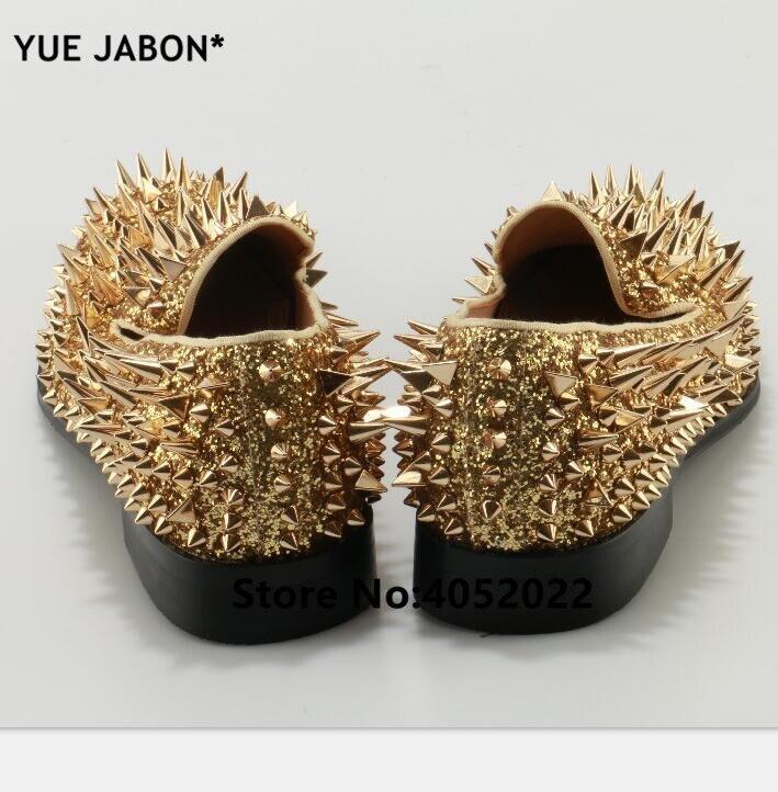 YUE Jabon luxe Designer chaussures hommes décontracté appartements rouge noir or argent cuir chaussures de mariage Rivet clouté à pointes mocassins hommes - 5