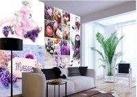 Custom Photo Wallpaper 3D Stereoscopic SPA Lavender Theme TV Background Wallpaper 3d Mural Wallpaper