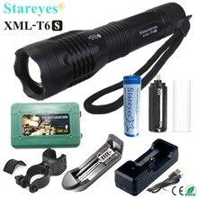 1 pièce Super lumineux XML T6S 4000LM torche LED lampe Zoomable lumière lampe de poche LED 18650 chargeur de batterie vélo boîte de support