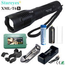 1 stück Super Helle XML T6S 4000LM LED Taschenlampe lampe Zoomable licht LED Taschenlampe 18650 batterie Ladegerät bike halter box
