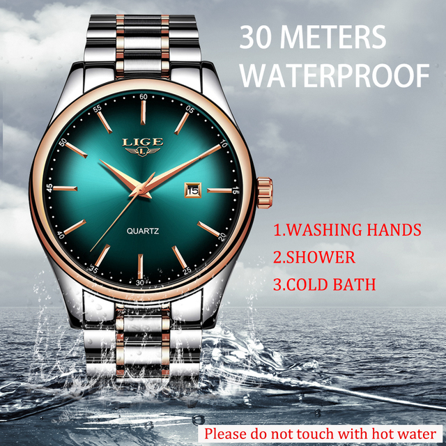 Relogio Masculino LIGE New Men Watches Top Brand Luxury Fashion Business Quartz Watch Men Sport Full Steel Waterproof Date Clock