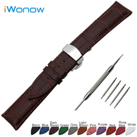 Genuine Leather Watch Band 18mm 20mm 22mm 24mm For MK Stainless Steel Butterfly Buckle Strap Wrist