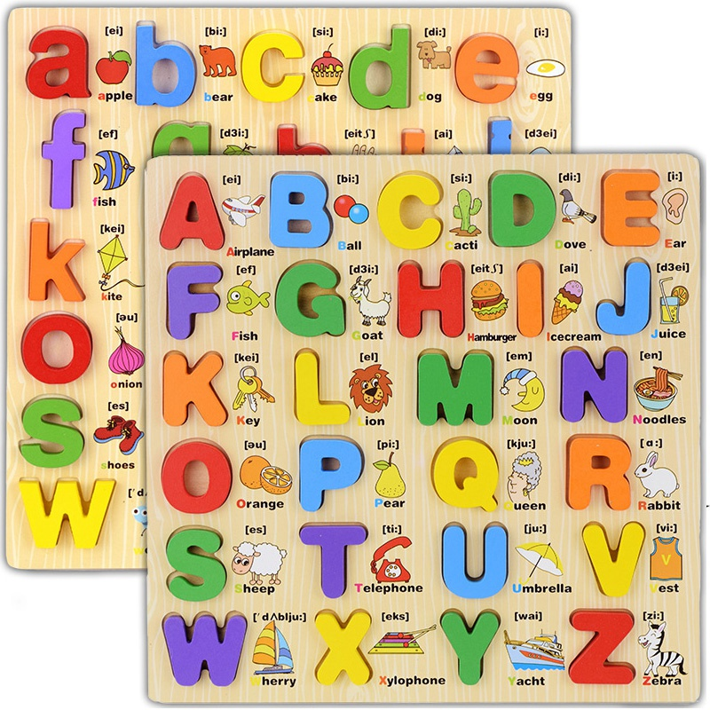 Kids Learning Capital Letter Lowercase Alphabet Board Language Educational Wooden Toys For Children Letter Scrabble