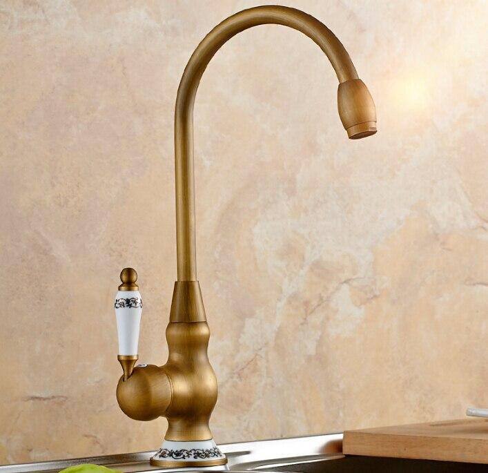 Robinet d'évier en laiton antique de nouveauté vintage de haute qualité pour le robinet de cuisine de cuisine et de salle de bains avec le robinet d'eau de poignée en céramique