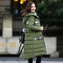 Autumn Winter Hooded Thickenin Down Jacket Women 2016 Female Warm Outerwear Zippers Down Solid X-Long Coat  LYG010