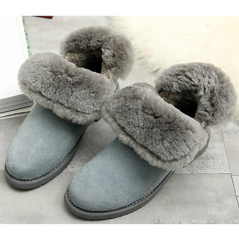 SNURULAN Suede winter enkellaars vrouwen schapen bont binnen sneeuw vrouwen laarzen
