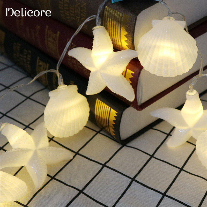 delicore home collection seashells string lights fairy lights ocean christmas garlands battery operated led string lights s045 in led string from lights