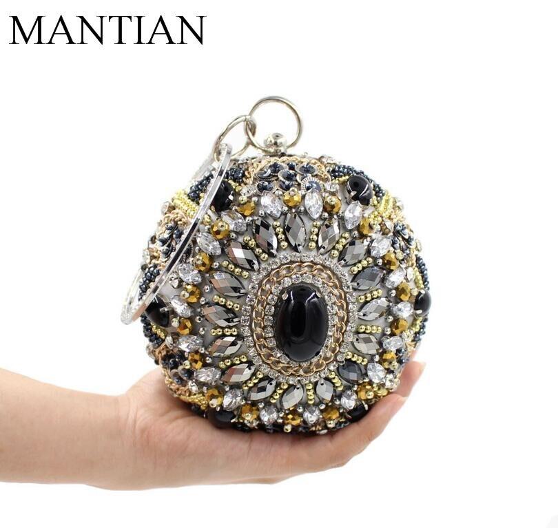 De calidad superior circular diamante pesado bolso de la cena de lujo bordado ca