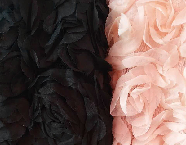 5 yards Black chiffon Rosette flower Fabric with 3D rose Costume dress fabric photography backdrop prop