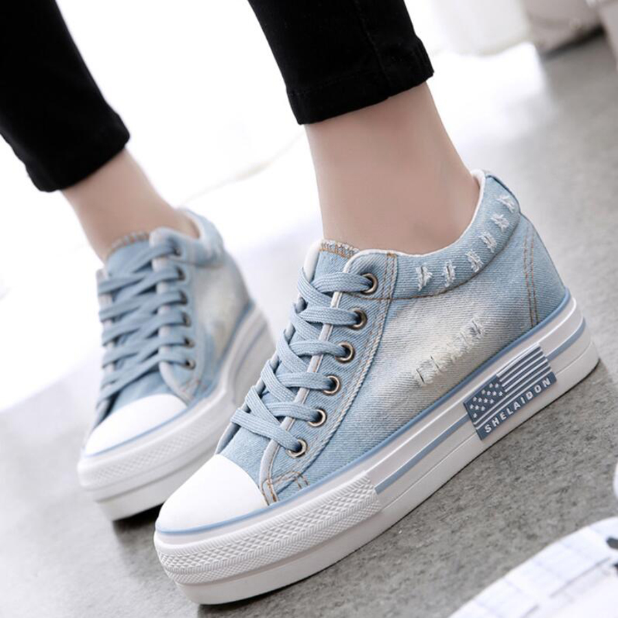 new spring canvas shoes female denim casual shoe font b women b font anti skid breathable