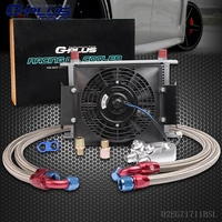 28 Row AN 10AN Universal Engine Oil Cooler Kit Filter Adapter Kit 7 FAN