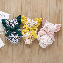 Everweekend Ins Cute Baby Girls Floral Print Bow Cotton