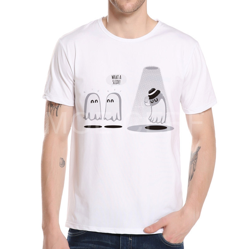 뜨거운 유령 귀여운 유령 티셔츠 판매 마이클 잭슨 티셔츠 디자인 된 남자 캐주얼 티셔츠 남성 라운드 칼라 록 탑 티 셔츠 K4-17 #