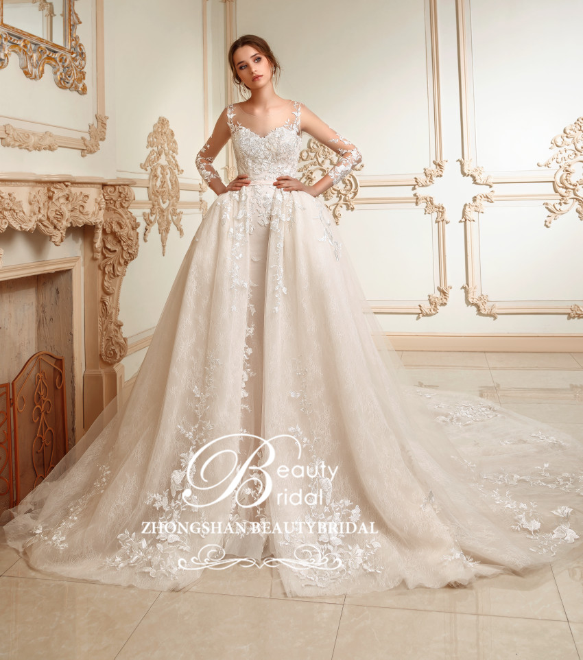 Luxury Princess Long train Wedding dress 2019 Plus size Ball Gown Wedding Dresses vestidos de noiva robe de mariage full SP004