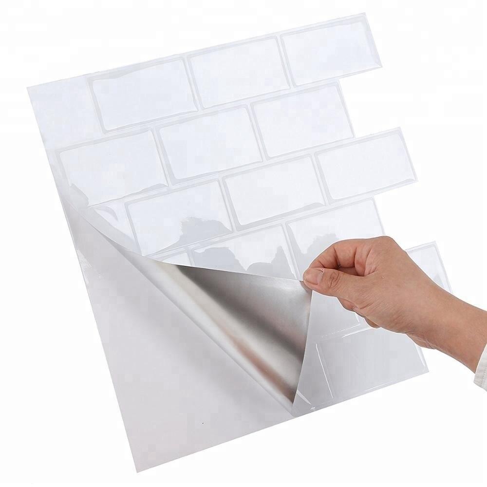Vividtiles gran tamaño 12*12 pulgadas Auto adhesivo impermeable papel pintado de vinilo resistente al calor 3D Peel and Stick mosaicos azulejos-1 hoja