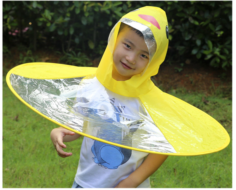 UFO Raincoat Outdoor Play Supplies cute Yellow Duck Rain Cover Baby Kids Cloak Transparent Waterproof