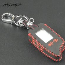 jingyuqin TW9010 TW9030 Leather Case Key Cover For Tomahawk TW 9010 9030 TwoWay Alarm LCD Remote Keychain Hand-Made Style