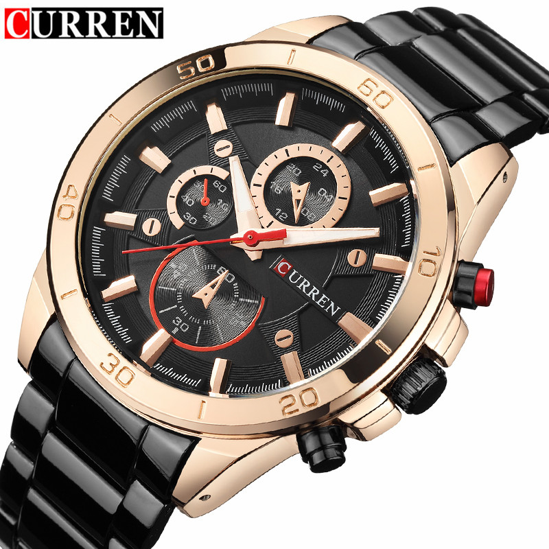 Mens Watches Curren Brand Luxury Gold Black Steel Analog Quartz Watch Men Fashion Casual Business Wristwatches Relogio Masculino curren watches mens luxury brand black full steel waterproof analog quartz watch men fashion casual business wristwatches 8050