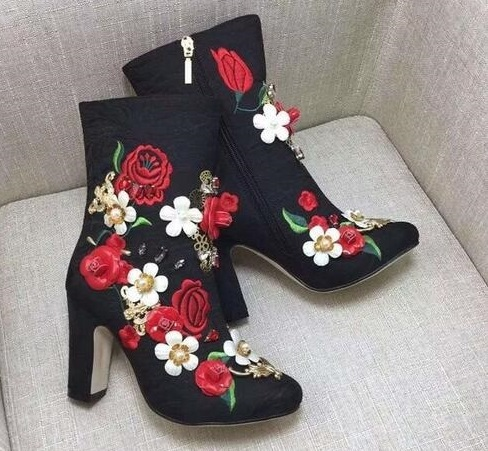 Fashion Embroided Design Spring Winter Casual Women Shoes Zipper Round-Toe Square High Heels Women Ankle Booties Free Shipping