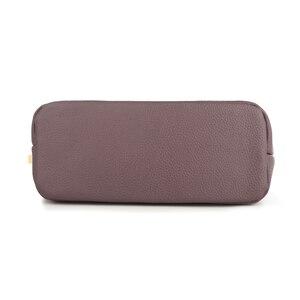 Image 5 - Женская маленькая сумка через плечо из натуральной кожи, Модный повседневный мессенджер через плечо, Женский тоут с 3 карманами на молнии