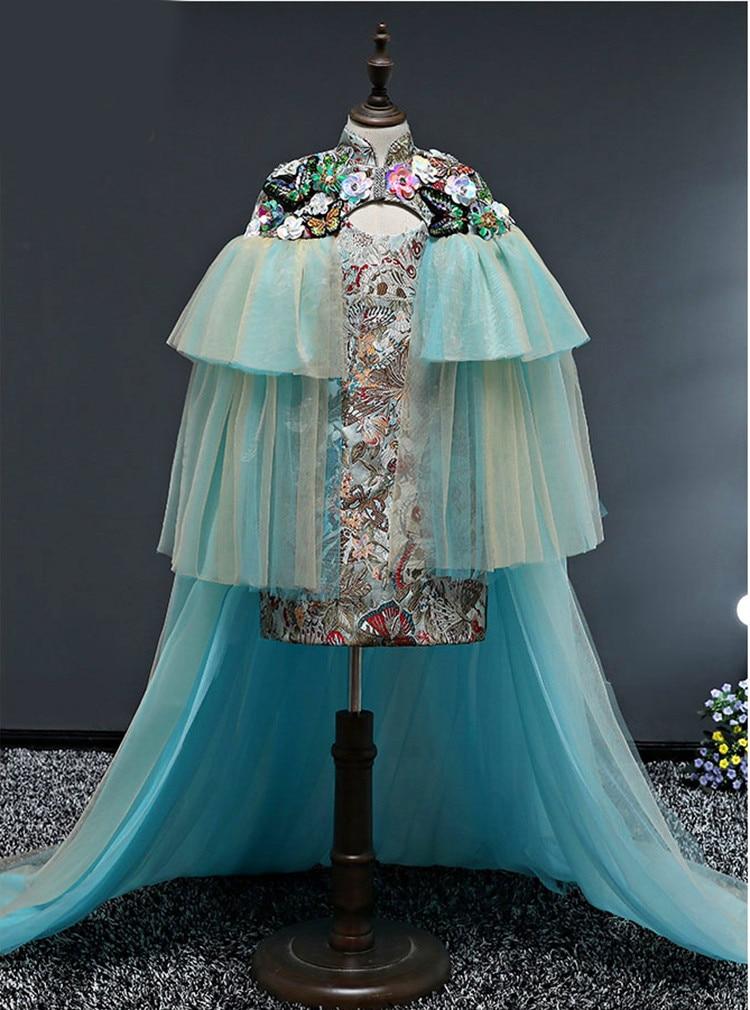 Meninas vestido + xale moda modelo t
