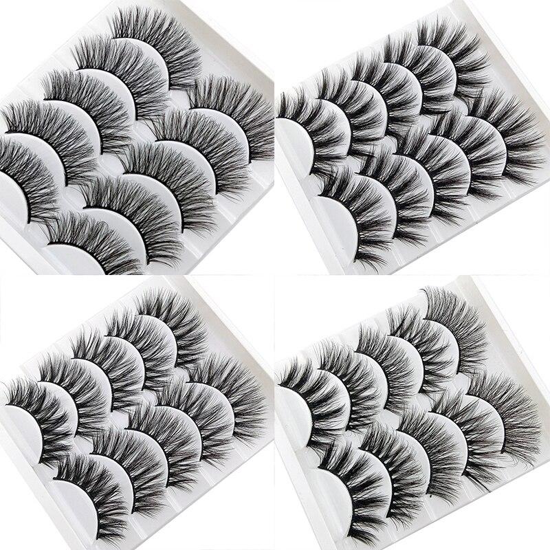 2019 New 5 Pairs 3D Mink Hair False Eyelashes Natural Long Thick 3D Eyelashes Crisscross Full Strip Lashes Handmade Eyelashes