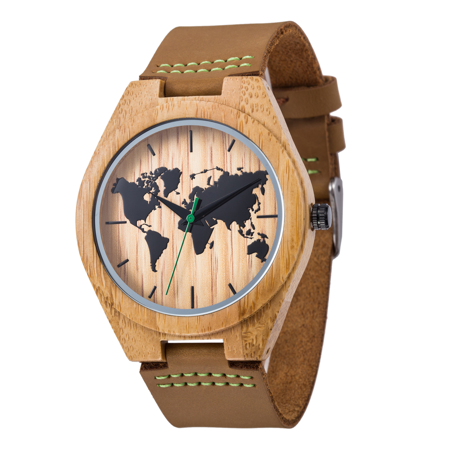 New World Map Mens Genuine Leather Quartz Watch Wood Bamboo Male Wrist Watch Luxury Brand Reloj de Madera Genuine with Gift Box fashion top gift item wood watches men s analog simple bmaboo hand made wrist watch male sports quartz watch reloj de madera
