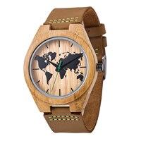 Novo Mapa Do Mundo Dos Homens do Couro Genuíno Relógio de Quartzo de Madeira de Bambu do Sexo Masculino Relógio de pulso Marca de Luxo reloj de Madera Genuíno com Caixa de Presente