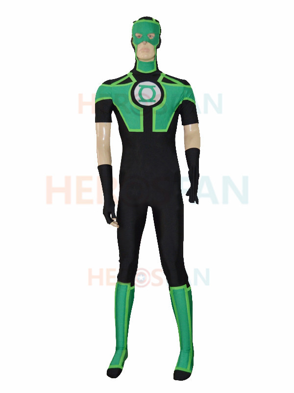 New Style Black Ahd Green Lantern Short Sleeves Superhero Costume Halloween Party Cosplay Zentai Suit
