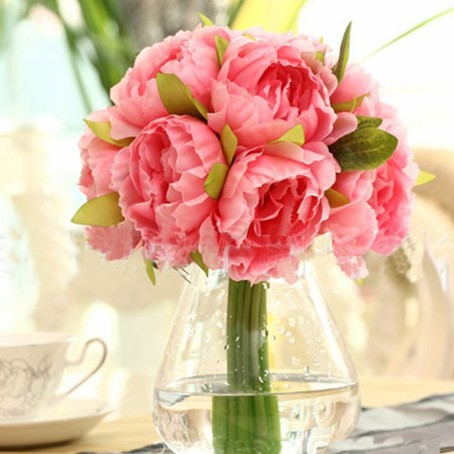 Lovely Colorful 10 Heads Artificial Silk Flower Peony Flowers ...