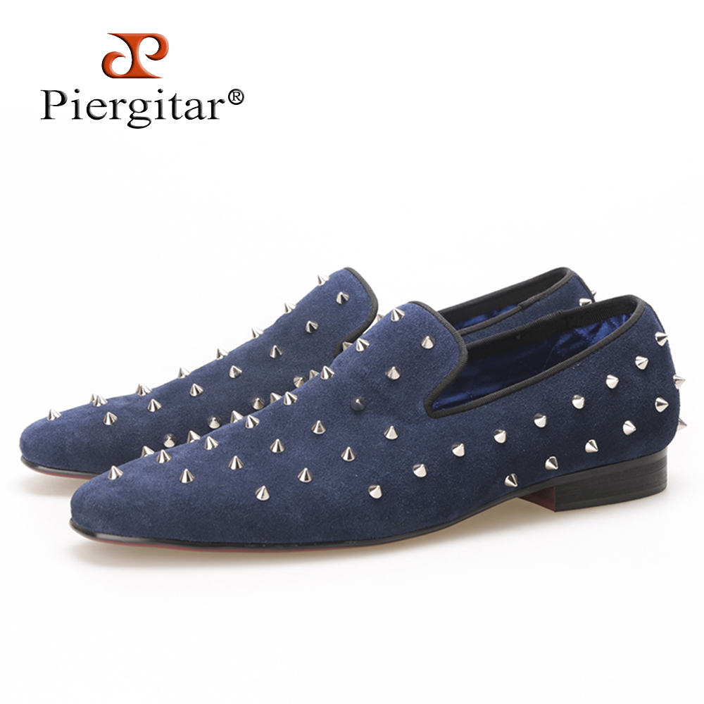 Piergitar new summer style Handmade Navy Suede men shoes with Silver Rivet Fashion smoking slipper Prom and Banquet men loafers piergitar new style leopard pattern special fabrics handmade men loafers fashion men casual shoes british style smoking slipper