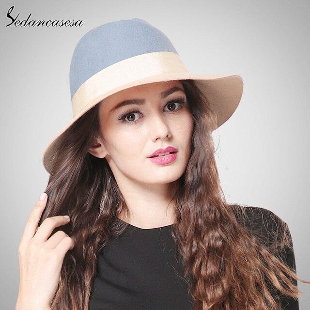 dde38fb71f536 Sedancasesa New Female Fedora Hat Contrast Color Style British Wide Brim Hat  Jazz Hat for Australian Wool FW146013